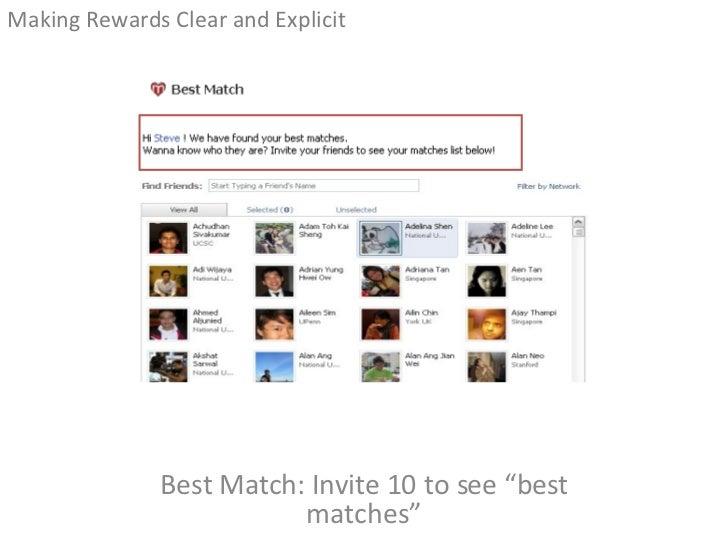"Best Match: Invite 10 to see ""best matches"" <ul><li>Making Rewards Clear and Explicit </li></ul>"