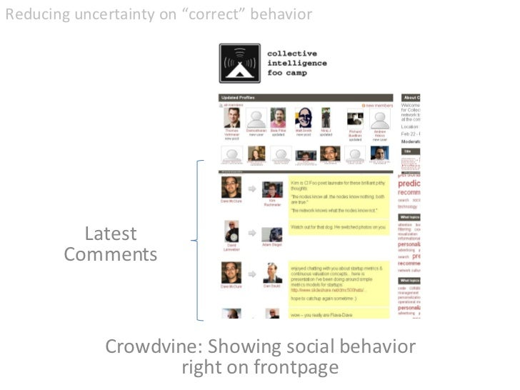"Crowdvine: Showing social behavior right on frontpage <ul><li>Reducing uncertainty on ""correct"" behavior </li></ul>Latest ..."