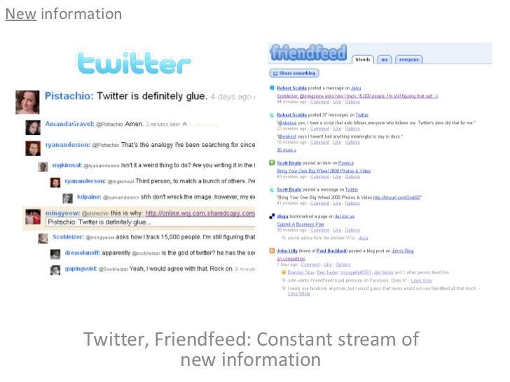 Twitter, Friendfeed: Constant stream of new information <ul><li>New  information </li></ul>