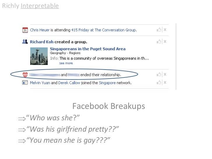 """<ul><li>Facebook Breakups </li></ul><ul><ul><li>"""" Who was she ?"""" </li></ul></ul><ul><ul><li>"""" Was his girlfriend pretty??""""..."""