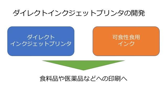 今後の展開 日本の食品への安全性・信頼性は世界屈指 • 高い評価を基に、ブランドイメージを食品へのダイレクト印刷 技術で「ものつくり信州」のブランド化を目指す • 食品分野だけでなく、医薬分野(特に錠剤など)のマーケット への展開