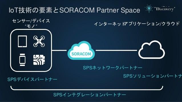 """IoT技術の要素とSORACOM Partner Space アプリケーション/クラウドインターネット センサー/デバイス """"モノ"""" SPSデバイスパートナー SPSネットワークパートナー SPSソリューションパートナ SPSインテグレーション..."""
