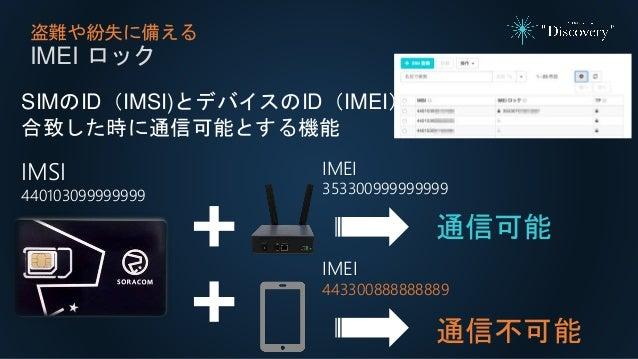 盗難や紛失に備える IMEI ロック SIMのID(IMSI)とデバイスのID(IMEI)が 合致した時に通信可能とする機能 IMSI 440103099999999 通信可能 IMEI 353300999999999 通信不可能 IMEI 4...