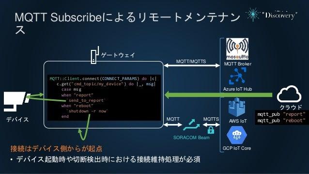 MQTT Subscribeによるリモートメンテナン ス 接続はデバイス側からが起点 • デバイス起動時や切断検出時における接続維持処理が必須 MQTT::Client.connect(CONNECT_PARAMS) do |c| c.get(...