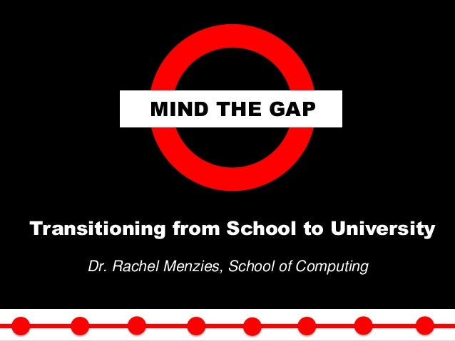 Dr. Rachel Menzies, School of Computing MIND THE GAP Transitioning from School to University 2/26/2015 1