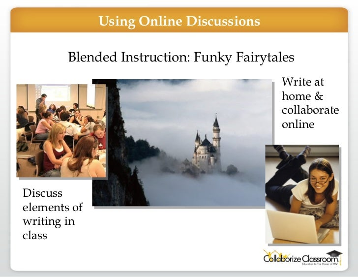 Blended Instruction: Funky Fairytales Discuss elements of writing in class Write at home & collaborate online Using Online...
