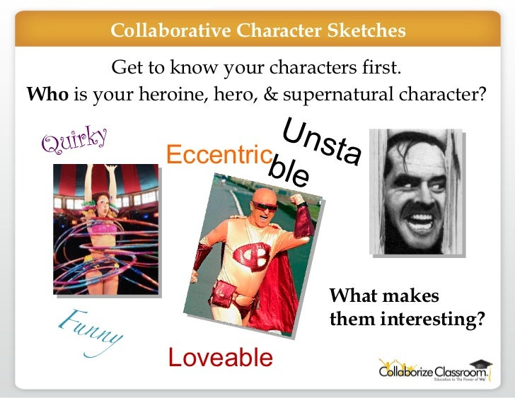 Get to know your characters first. Who  is your heroine, hero, & supernatural character? Quirky  Unstable Eccentric Funny ...