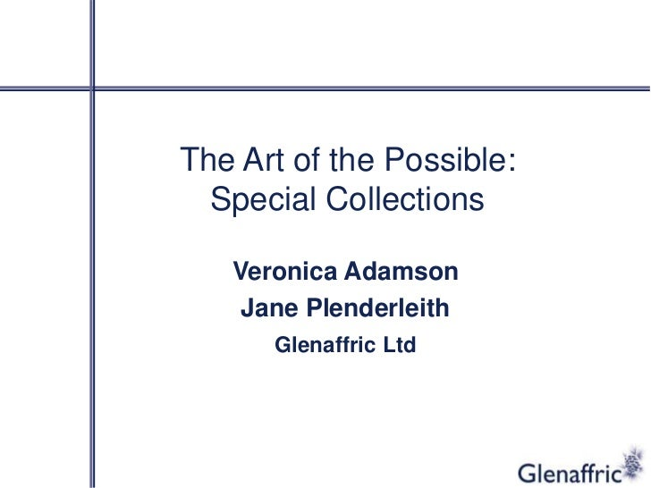 The Art of the Possible:  Special Collections   Veronica Adamson    Jane Plenderleith      Glenaffric Ltd