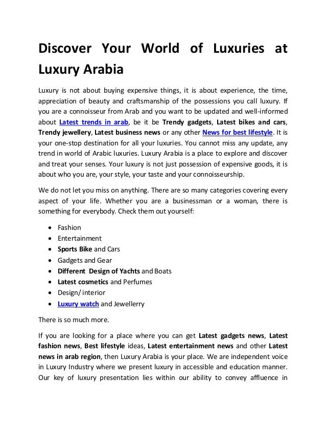 Discover your world of luxuries at luxury arabia
