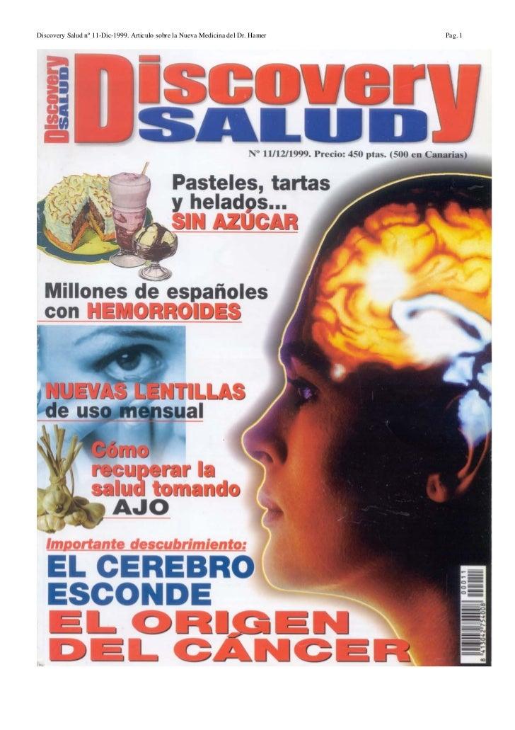 Discovery Salud nº 11-Dic-1999. Articulo sobre la Nueva Medicina del Dr. Hamer   Pag. 1