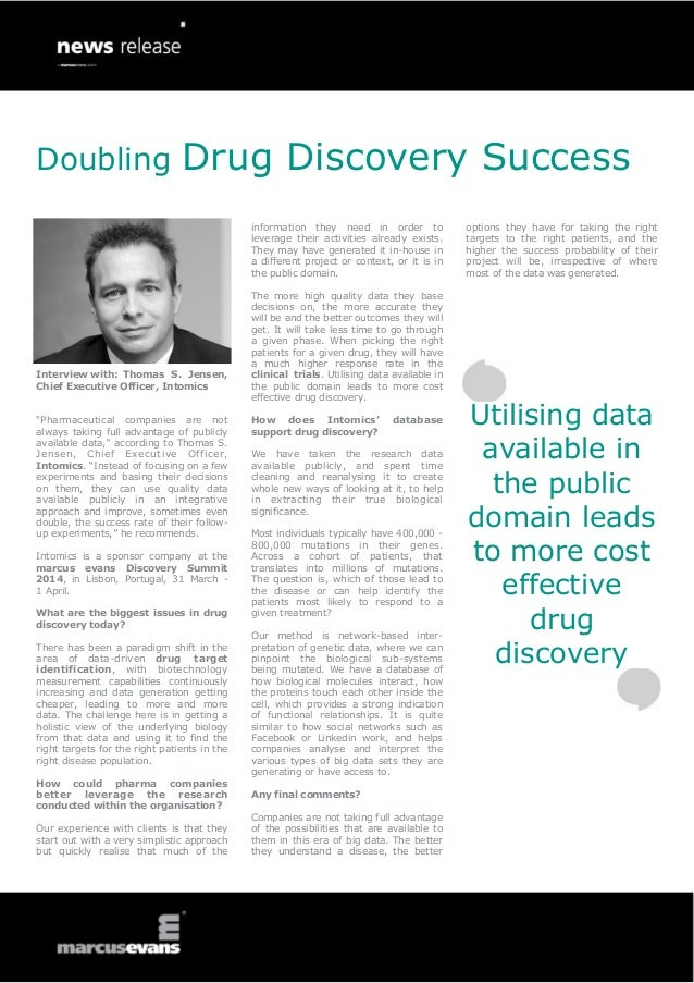 """Doubling Drug Discovery Success Interview with: Thomas S. Jensen, Chief Executive Officer, Intomics """"Pharmaceutical compan..."""