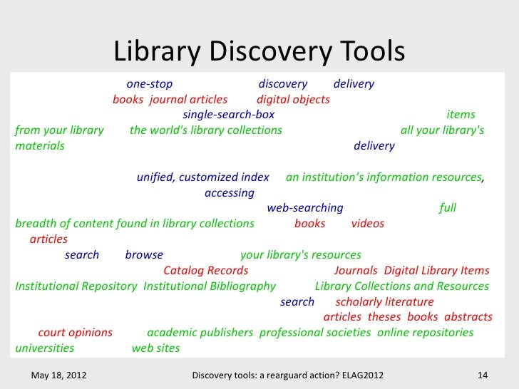 """Library Discovery ToolsEx Libris Primo: """"is a one-stop solution for the discovery and delivery of local and remoteresource..."""