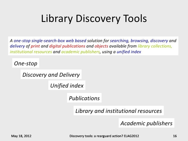 Library Discovery ToolsA one-stop single-search-box web based solution for searching, browsing, discovery anddelivery of p...