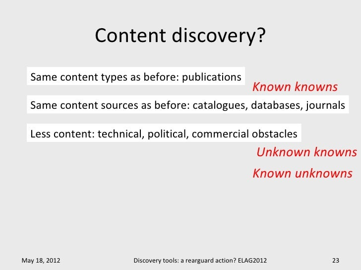 Content discovery?  Same content types as before: publications                                                            ...