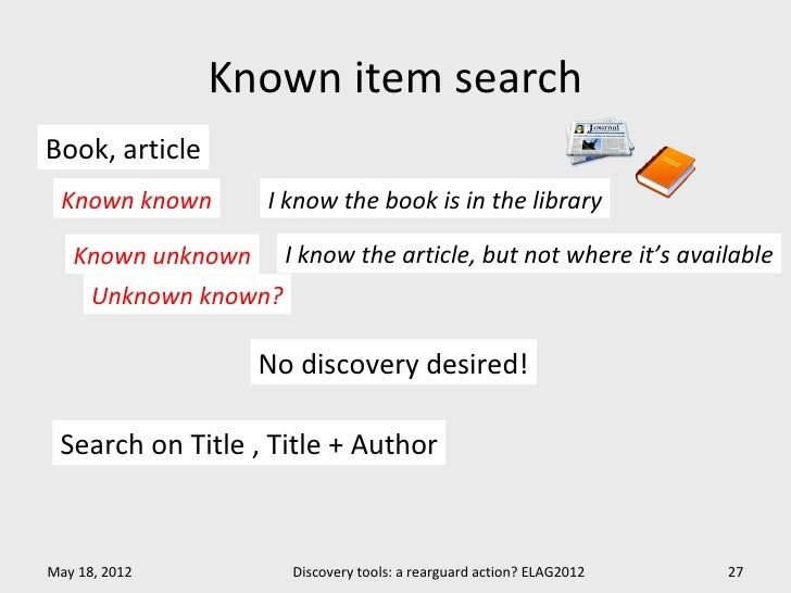 Known item searchBook, article Known known       I know the book is in the library   Known unknown       I know the articl...
