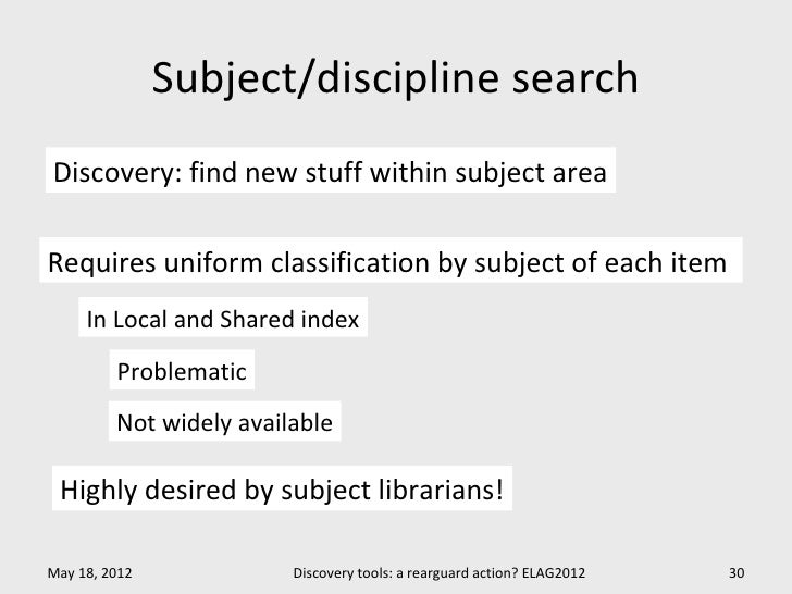 Subject/discipline searchDiscovery: find new stuff within subject areaRequires uniform classification by subject of each i...