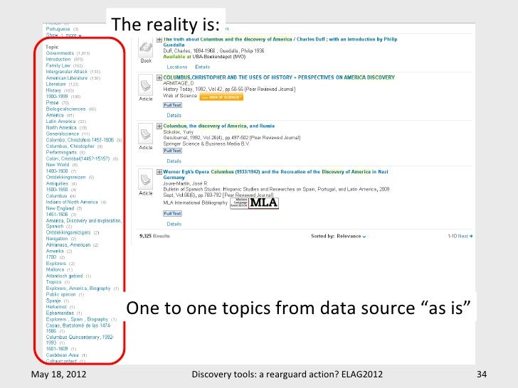 """The reality is:                 One to one topics from data source """"as is""""May 18, 2012              Discovery tools: a rea..."""