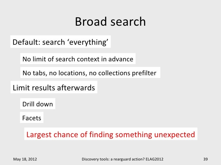 Broad searchDefault: search 'everything'    No limit of search context in advance    No tabs, no locations, no collections...