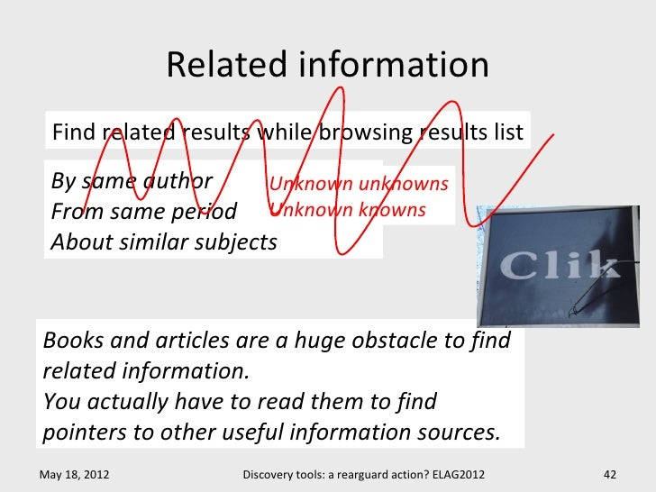 Related information  Find related results while browsing results list By same author       Unknown unknowns From same peri...