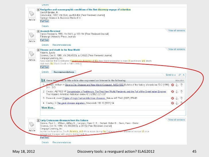 May 18, 2012   Discovery tools: a rearguard action? ELAG2012   45