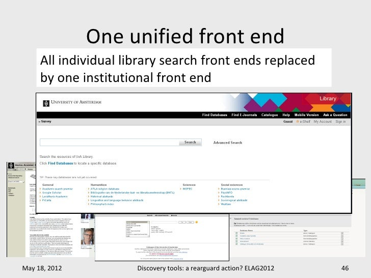 One unified front end     All individual library search front ends replaced     by one institutional front endMay 18, 2012...