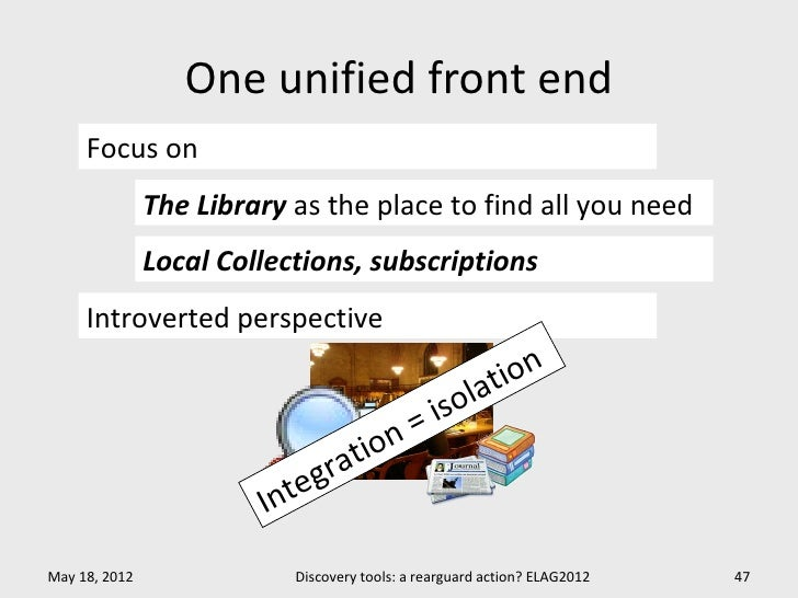 One unified front end     Focus on               The Library as the place to find all you need               Local Collect...