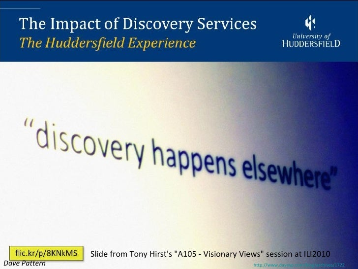 """Slide from Tony Hirsts """"A105 - Visionary Views"""" session at ILI2010Dave Pattern                                            ..."""