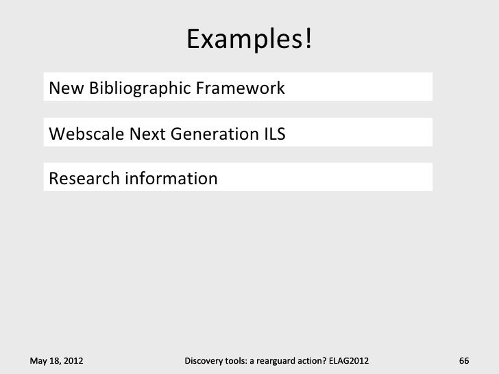Examples!    New Bibliographic Framework    Webscale Next Generation ILS    Research informationMay 18, 2012        Discov...