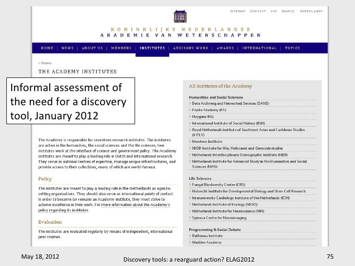 Informal assessment ofthe need for a discoverytool, January 2012  May 18, 2012         Discovery tools: a rearguard action...