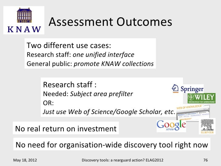 Assessment Outcomes      Two different use cases:      Research staff: one unified interface      General public: promote ...