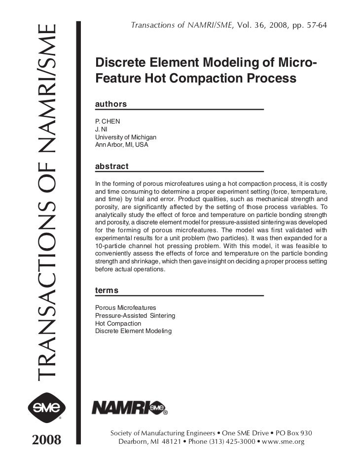 Transactions of NAMRI/SME, Vol. 36, 2008, pp. 57-64TRANSACTIONS OF NAMRI/SME   Discrete Element Modeling of Micro-        ...