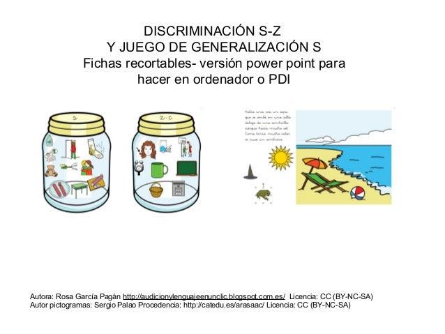 DISCRIMINACIÓN S-Z Y JUEGO DE GENERALIZACIÓN S Fichas recortables- versión power point para hacer en ordenador o PDI Autor...