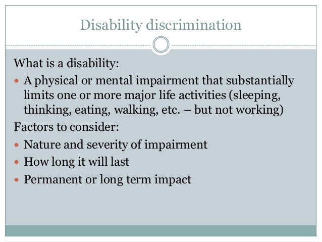 proving disability and reasonable adjus Disability discrimination means treating individuals differently in employment  a  reasonable accommodation is an adjustment or modification provided by an  it  is not easy for employers to prove that an accommodation is an undue.
