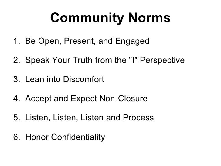 """Community Norms 1. Be Open, Present, and Engaged 2. Speak Your Truth from the """"I"""" Perspective 3. Lean into Di..."""