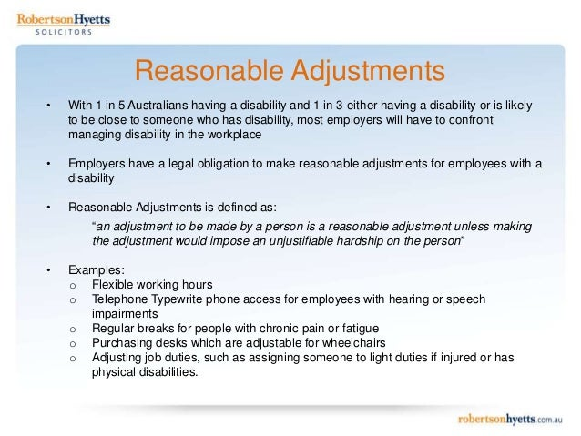 Disability discrimination: 10 examples of reasonable adjustments in employment