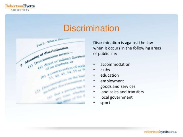disability discrimination act 1992 In victoria it is against the law to discriminate against you because of a disability you have, or that people think you might have if you have disability, you are also protected by the federal disability discrimination act 1992 the federal and victorian discrimination laws share many similarities.