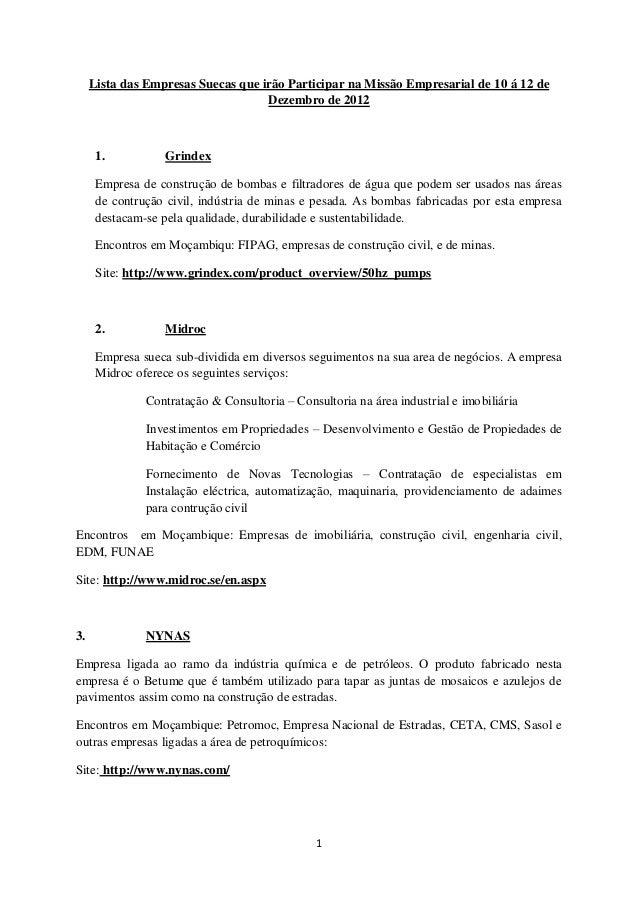 Lista das Empresas Suecas que irão Participar na Missão Empresarial de 10 á 12 de                                    Dezem...