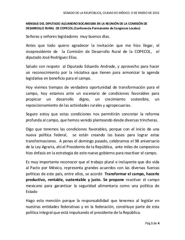 SENADO DE LA REUPÚBLICA, CIUDAD DE MÉXICO. 9 DE ENERO DE 2013MENSAJE DEL DIPUTADO ALEJANDRO BOCANEGRA EN LA REUNIÓN DE LA ...