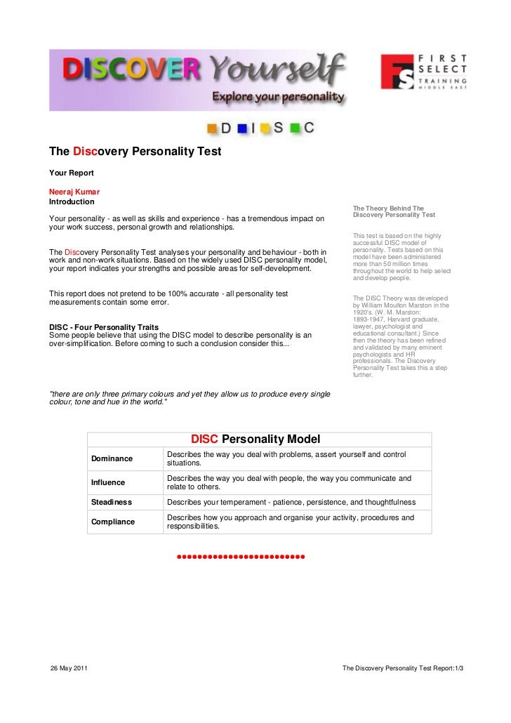 Personality Test Report for Neeraj
