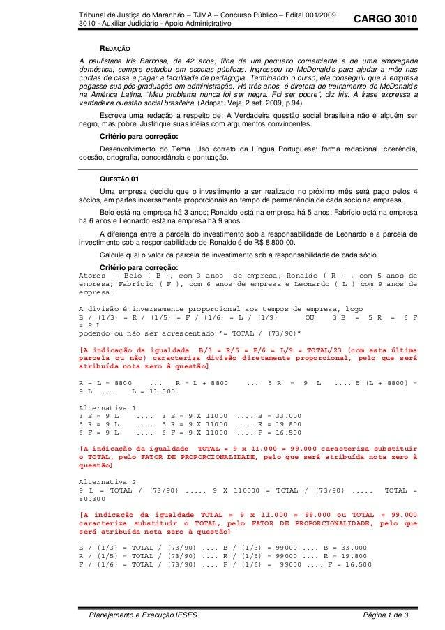 Tribunal de Justiça do Maranhão – TJMA – Concurso Público – Edital 001/2009 3010 - Auxiliar Judiciário - Apoio Administrat...