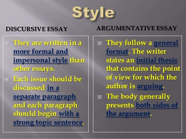 elements of a discursive essay Argumentative essay: who doesn't love a good argument there's something invigorating about persuading another.