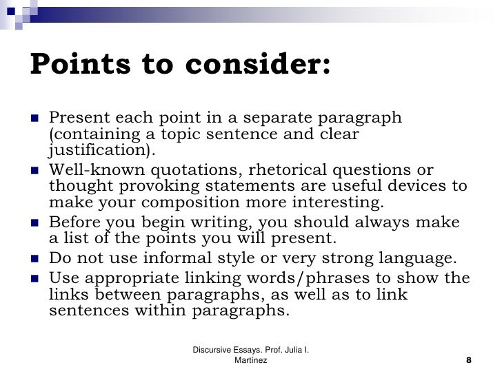 elements of a discursive essay Techniques and strategies for writing persuasive or argumentative essays  elements toward building a good persuasive essay include.