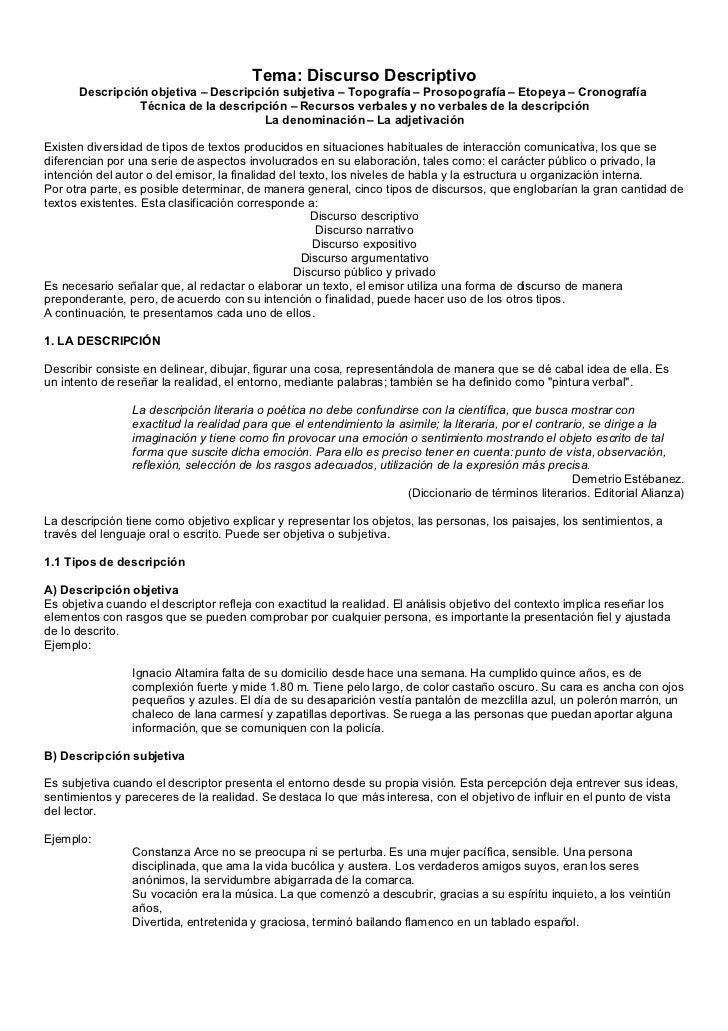 Tema: Discurso Descriptivo       Descripción objetiva – Descripción subjetiva – Topografía – Prosopografía – Etopeya – Cro...