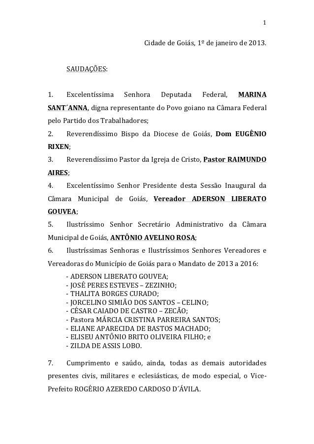 1                                                 Cidade de Goiás, 1º de janeiro de 2013.           ...
