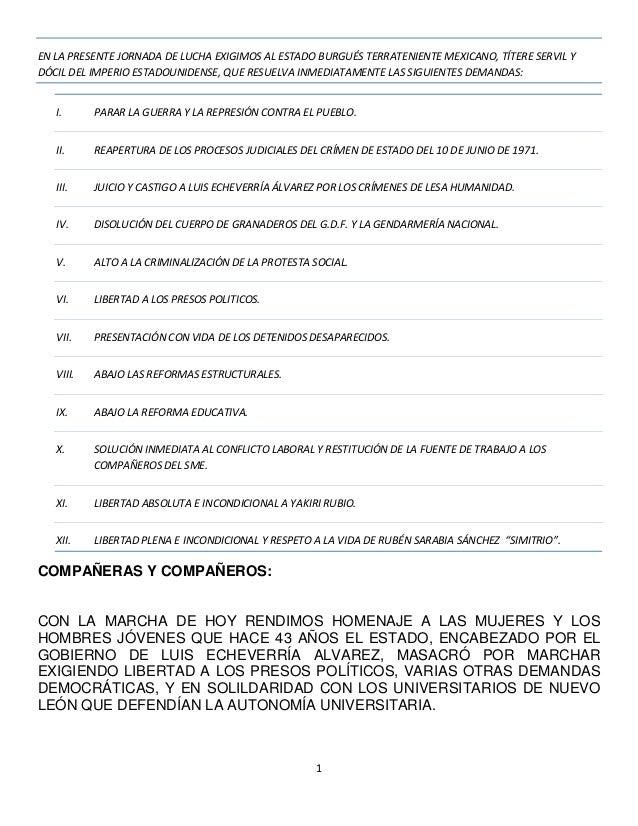 1 EN LA PRESENTE JORNADA DE LUCHA EXIGIMOS AL ESTADO BURGUÉS TERRATENIENTE MEXICANO, TÍTERE SERVIL Y DÓCIL DEL IMPERIO EST...