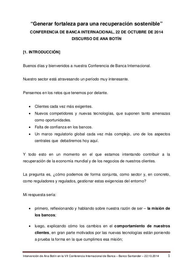 """Intervención de Ana Botín en la VII Conferencia Internacional de Banca – Banco Santander – 22.10.2014 1  """"Generar fortalez..."""