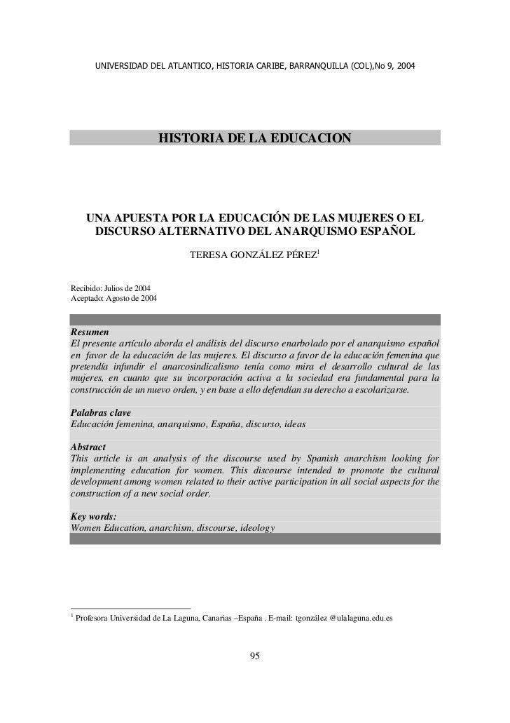UNIVERSIDAD DEL ATLANTICO, HISTORIA CARIBE, BARRANQUILLA (COL),No 9, 2004                           HISTORIA DE LA EDUCACI...