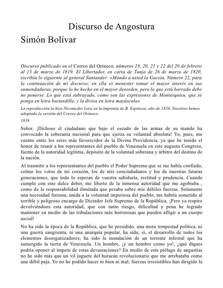 Discurso de AngosturaSimón BolívarDiscurso publicado en el Correo del Orinoco, números 19, 20, 21 y 22 del 20 de febreroal...