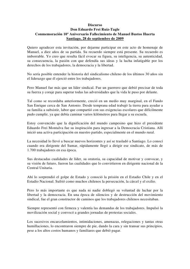 Discurso                        Don Eduardo Frei Ruiz-Tagle      Conmemoración 10º Aniversario Fallecimiento de Manuel Bus...