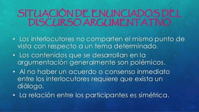 SITUACIÓN DE ENUNCIADOS DEL DISCURSO ARGUMENTATIVO • Los interlocutores no comparten el mismo punto de vista con respecto ...